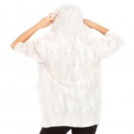 Λευκή Πλεκτή Ζακέτα με Κουκούλα
