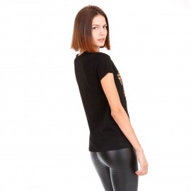 Μαύρο Μπλουζάκι με Λεοπάρ Στάμπα
