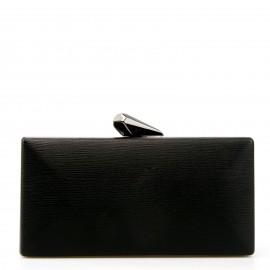 Μαύρο Clutch Τσαντάκι με Σχέδιο στο Κούμπωμα