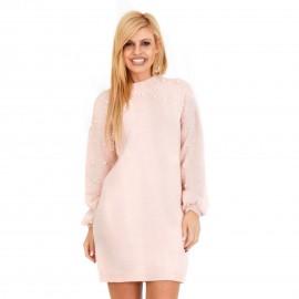 Ρόζ Πλεκτό Μπλουζοφόρεμα με Πέρλες