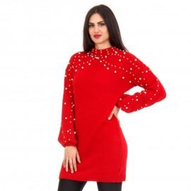 Κόκκινο Πλεκτό Μπλουζοφόρεμα με Πέρλες