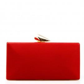 Κόκκινο Clutch Τσαντάκι με Σχέδιο στο Κούμπωμα