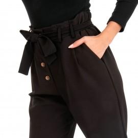 Μαύρο Παντελόνι με Κουμπιά και Ζωνάκι