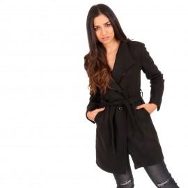 Μαύρο Παλτό με Ζώνη