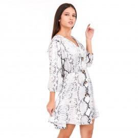 Γκρι Φίδι Mini Φόρεμα με Κουμπιά