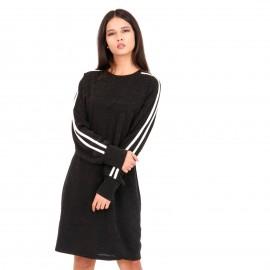 Μαύρο Μακρυμάνικο Mini Φόρεμα με Glitter και Ρίγες