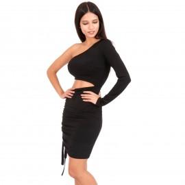 Μαύρο One Shoulder Mini Φόρεμα με Άνοιγμα στη Μέση