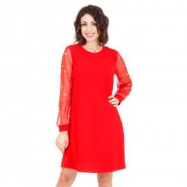 Κόκκινο Μini Φόρεμα με Τούλι στα Μανίκια και Πέρλες