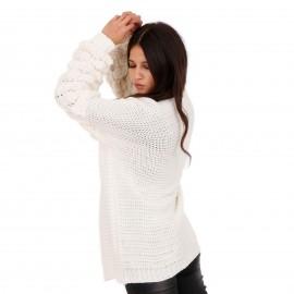Λευκή Πλεκτή Ζακέτα με Σχέδιο στα Μανίκια
