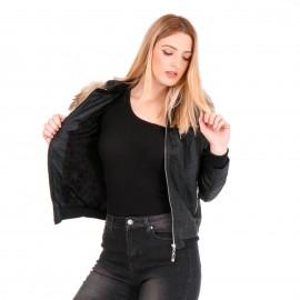 Μαύρο Δερμάτινο Biker Jacket με Γούνα