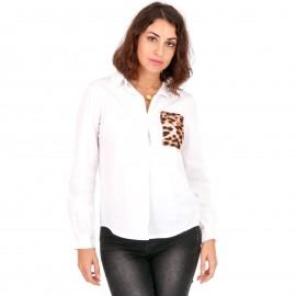 Λευκό Πουκάμισο με Animal Print