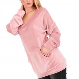 Ρόζ Βελούδινη Μπλούζα με Τσέπες