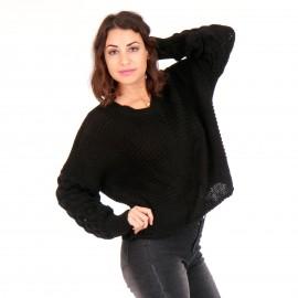 Μαύρη Πλεκτή Μπλούζα με Σχέδιο στα Μανίκια