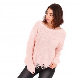 Ρόζ Πλεκτή Μπλούζα