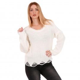 Λευκή Πλεκτή Μπλούζα