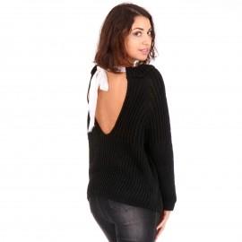Μαύρη Πλεκτή Μπλούζα με Φιόγκο