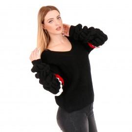 Μαύρη Πλεκτή Μπλούζα με Ρίγες στα Μανίκια
