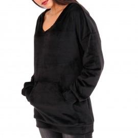 Μαύρη Βελούδινη Μπλούζα με Τσέπες