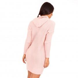 Ρόζ Πλεκτό Μπλουζοφόρεμα με Κουκούλα