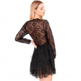 Μαύρο Μini Φόρεμα Κρουαζέ με Δαντέλα και Τούλι