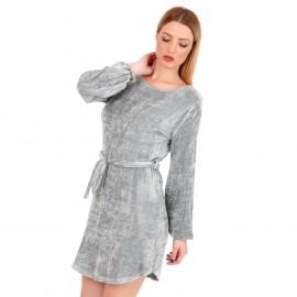 Γκρι Βελούδινο Μini Φόρεμα με Ζωνάκι