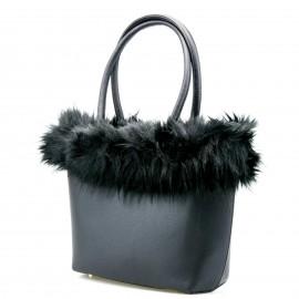 Μαύρη Τετράγωνη Τσάντα Ώμου με Γούνα
