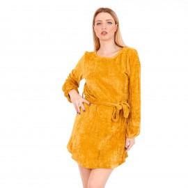 Κίτρινο Βελούδινο Μini Φόρεμα με Ζωνάκι