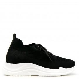 Μαύρα Knit Sneakers με Κορδόνια