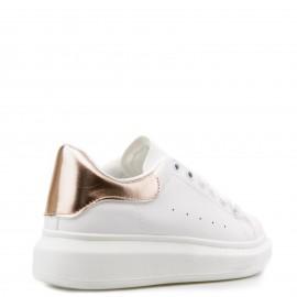 Λευκά Sneakers με Χάλκινη Λεπτομέρεια