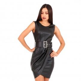 Μαύρο Δερμάτινο Mini Φόρεμα με Ζώνη