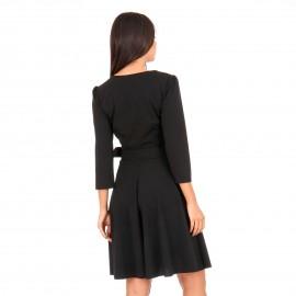Μαύρο Midi Φόρεμα με Φερμουάρ