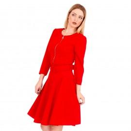Κόκκινο Midi Φόρεμα με Φερμουάρ