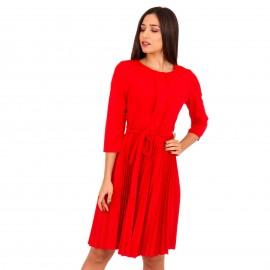 Κόκκινο Midi Φόρεμα με Πλισέ Φούστα