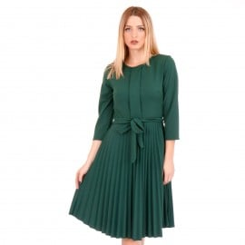 Πράσινο Midi Φόρεμα με Πλισέ Φούστα