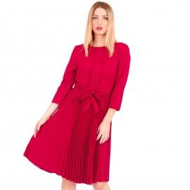 Μπορντό Midi Φόρεμα με Πλισέ Φούστα