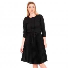 Μαύρο Midi Φόρεμα με Πλισέ Φούστα