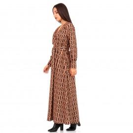 Καφέ Maxi Φόρεμα με Σχέδια