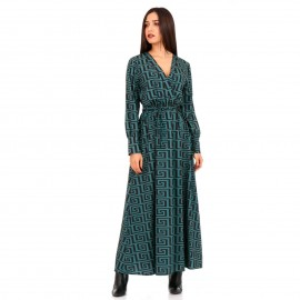 Πράσινο Maxi Φόρεμα με Σχέδια