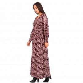 Ρόζ Maxi Φόρεμα με Σχέδια