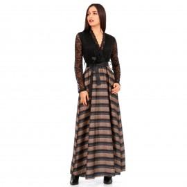 Μαύρο Maxi Φόρεμα με Δαντέλα και Ρίγες