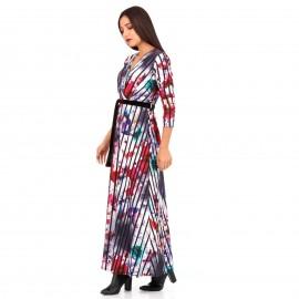 Λευκό Φλοράλ Maxi Φόρεμα με Ρίγες
