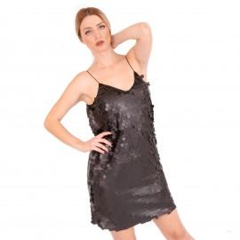 Μαύρο Mini Φόρεμα με Παγέτες