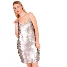 Γκρι Mini Φόρεμα με Παγέτες
