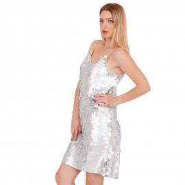 Ασημί Mini Φόρεμα με Παγέτες