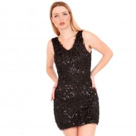 Μαύρο Γούνινο Mini Φόρεμα με Παγέτες