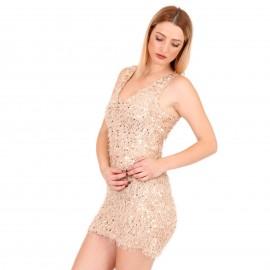Μπεζ Γούνινο Mini Φόρεμα με Παγέτες