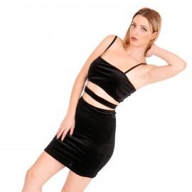 Μαύρο Βελούδινο Mini Φόρεμα με Άνοιγμα στη Μέση