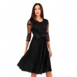 Μαύρο Midi Φόρεμα με Δαντέλα και Πλισέ Φούστα