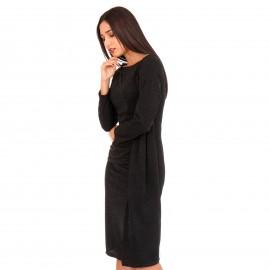 Μαύρο Midi Φόρεμα με Glitter και Άνοιγμα στο Πλάι