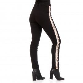 Μαύρο Παντελόνι με Snake Print Ρίγα